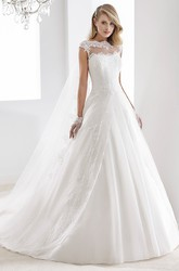Scalloped-neck Cap-sleeve A-line Wedding Gown with V Back and Front-split Overlayer