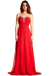 Floor-Length Sleeveless Sweetheart Beaded Chiffon Prom Dress
