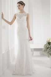 Allover Lace Illusion Neck Sheath Wedding Gown With Back Keyhole