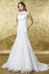 A-Line Appliqued High Neck Floor-Length Sleeveless Lace Wedding Dress With Illusion Back And Broach