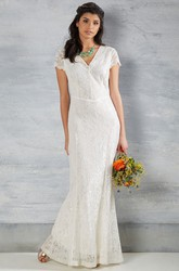 Sheath Cap-Sleeve Maxi V-Neck Lace Wedding Dress With V Back