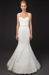 Mermaid Appliqued Floor-Length Sleeveless Queen-Anne Lace Wedding Dress With Illusion Back And Waist Jewellery