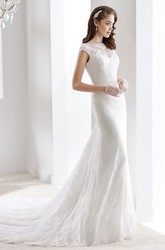 Cap sleeve Brush-train Pleated Lace Wedding Gown with Low-V Back and Jewel Neck