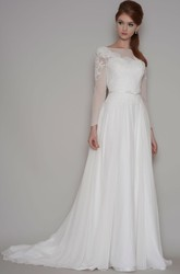 Sheath Long-Sleeve Bateau-Neck Chiffon Wedding Dress With Illusion