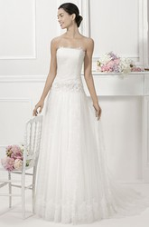 Strapless Drop Waist Tulle Bridal Gown With Removable Lace Cap Sleeves