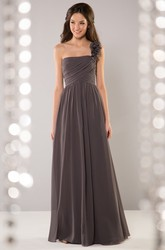 One-Shoulder A-Line Crisscrossed Bridesmaid Dress With Floral Detail