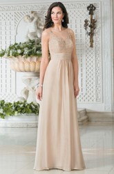 Sleeveless V-Neck A-Line Long Gown With Illusion Back