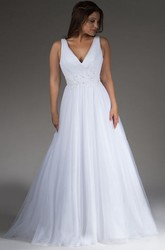 V Neck Pleated A-Line Tulle Bridal Gown With Crystal Waist