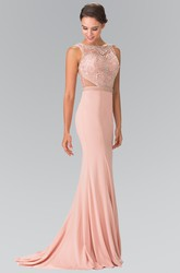 Sheath Long Bateau Sleeveless Jersey Illusion Dress With Beading And Pleats