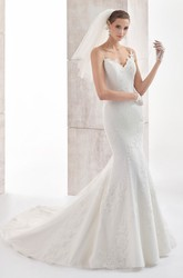Sweetheart Spaghetti-Strap Mermaid Gown With Open Back And Court Train