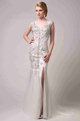 Column Side Slit Tulle Prom Dress With Polychrome Rhinestones