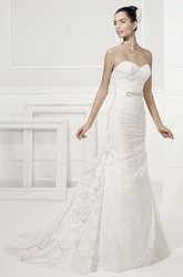 Sweetheart Sheath Lace Bridal Gown With Crystal Waist And Layered Skirt