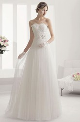 Sweetheart Drop Waist Tulle Ball Gown With Lace Top And Flower