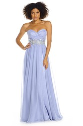 Sweetheart Jeweled Sleeveless Chiffon Prom Dress