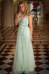 Sheath Cap-Sleeve Jewel-Neck Floor-Length Beaded Tulle Prom Dress With Pleats