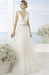 A-Line Long V-Neck Sleeveless Ruched Tulle Wedding Dress With Waist Jewellery And Low-V Back