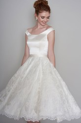 Simple Satin and Lace Off-the-shoulder Low-V Back Tea-length Wedding Dress