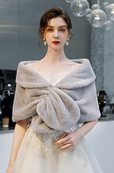 Grey Faux Fur Shawl For Wedding/Party