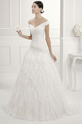 Off Shoulder V Neck Drop Waist Bridal Gown With Tiered Tulle Skirt