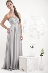 Sheath Sweetheart Beaded Floor-Length Sleeveless Chiffon Bridesmaid Dress With Ruching