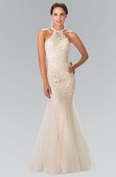 Trumpet Scoop-Neck Sleeveless Tulle Lace Straps Dress With Appliques And Beading