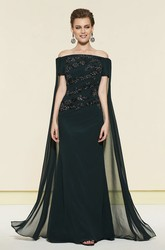Off-the-shoulder Sheath Appliqued Evening Dress With Watteau Train