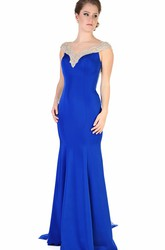 Sheath Cap-Sleeve Beaded Maxi Jersey Evening Dress With Pleats