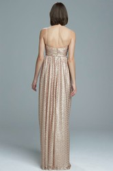 Maxi Sleeveless Spaghetti Sequin Bridesmaid Dress