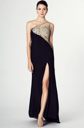 Sheath One-Shoulder Split-Front Sleeveless Jersey Prom Dress