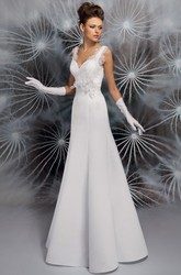 A-Line V-Neck Lace Sleeveless Long Satin Wedding Dress With Low-V Back And Bow