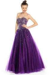 A-Line Sleeveless Beaded Strapless Floor-Length Tulle Prom Dress With Lace-Up Back