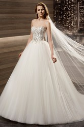 Sweetheart A-line Wedding Dress with Floral Beaded Corset and Brush Train