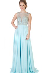 A-Line Floor-Length Jewel-Neck Beaded Sleeveless Chiffon Evening Dress With Pleats