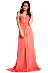 Sleeveless Criss-Cross Sweetheart Chiffon Prom Dress