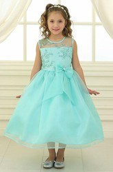 Tea-Length Bowed Floral Lace&Organza Flower Girl Dress With Illusion