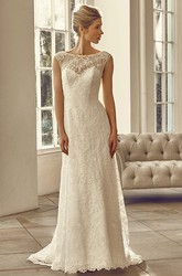 Floor-Length Bateau Cap-Sleeve Appliqued Lace Wedding Dress