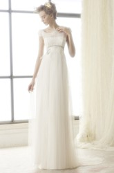 A-Line Sleeveless Floor-Length Lace Bateau Tulle Wedding Dress With Illusion Back And Sweep Train