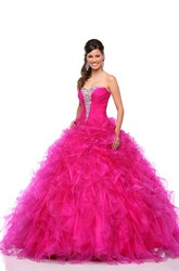 Sweetheart Organza A-Line Ball Gown With Cascading Ruffles And Lace-Up Back