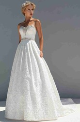 A-Line Long Sleeveless Sweetheart Appliqued Lace Wedding Dress With Waist Jewellery And Beading