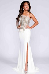 One-Shoulder Side Slit Sheath Jersey Long Prom Dress With Crystal Detailing