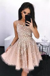 A-line Knee-length Sleeveless Bateau Beading Flower Pleats Sequins Tulle Sequins Homecoming Dress