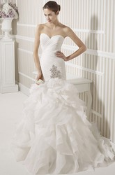 Mermaid Floor-Length Cascading-Ruffle Sleeveless Sweetheart Organza Wedding Dress With Criss Cross And Broach