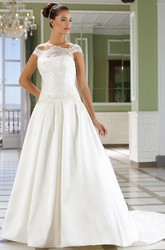 A-Line Off-The-Shoulder Appliqued Satin Wedding Dress With Court Train