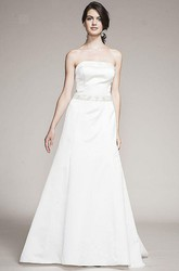 A-Line Strapless Jeweled Maxi Sleeveless Satin Wedding Dress