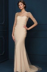 Sheath Long-Sleeve Long Scoop-Neck Beaded Tulle&Jersey Evening Dress