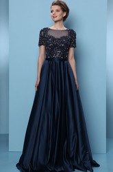 A-Line Long Short-Sleeve Crystal Scoop-Neck Satin Prom Dress With Pleats