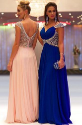 Sheath Beaded Cap-Sleeve Floor-Length V-Neck Chiffon Prom Dress With Pleats