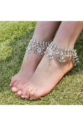 Vintage Bohemian Style Diamond Studded Gemstone Multi-layered Anklet