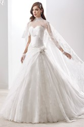 High-Neck Cape-Train A-Line Bridal Gown With Side Floral Ruffles And Brush Train
