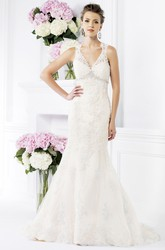 Sleeveless Mermaid Wedding Gown with Keyhole Back and Jewels